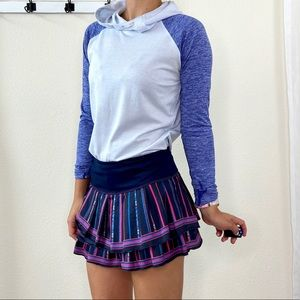 Lucky in Love Navy Striped Tennis Skirt
